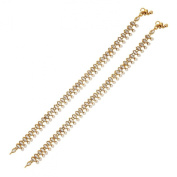 Antique Traditional Pearl Kundan Look Payal Anklet Pair 30Cm