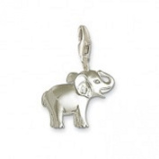 LOVELY 3D LITTLE SILVER BABY ELEPHANT CLIP ON CHARM FOR BRACELETS - 925 SILVER PLATE