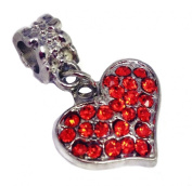 Truly Charming® Silver Red Crystal Heart Dangle Charm Bead Will Fit Pandora Troll Chamilia Style Bracelets