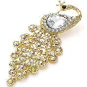 Gold AB crystal stones & pear diamante peacock costume jewellery movable brooch
