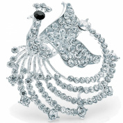 Silver plated peacock style design fashion costume jewellery pin brooch diamante crystal stones