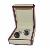 De Luxe Black Round Art Deco Style Brides Brother Cufflinks in Cream Leatherette Gift Box