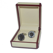 De Luxe Black Round Art Deco Style Grooms Brother Cufflinks in Cream Leatherette Gift Box