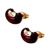 Red Stone Rose Gold Plated Stud Earrings - High Quality