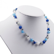 Ladies Necklace with Genuine Pearls Originals + 8 POLARIS 10 mm, PKS1022. 5810 Crystal Pearls with Round and 5328 .  XILION Beads, Approximately 45 + 4.5 cm, Dark Blue, Light Grey, Royal Blue, White, Chain Polaris, Polaris Jewellery, P ..