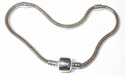 """Silver Plated Charm Starter Bracelet For Slide On Beads & Charms - SpangleBead - Suitable For Pandora/Troll/Chamilia Beads - 22cm / 8.5"""""""