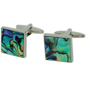 Jakob Strauss Gents Silver Tone Metal - Square Abalone Retro Cufflinks