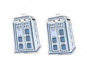TV Series The Doctor. Blue and SilverTone Metal Tardis Cufflinks. Gift Box