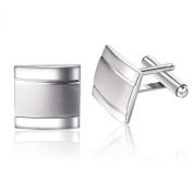 Honey Bear Mens Stainless Steel Plain Silver Square Business Wedding Cufflinks Gift Present