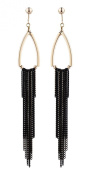CLIP ON EARRINGS - GOLD PLATED CHANDELIER WITH BLACK TASSLE CHAIN FRINGE - Becca by Bello London