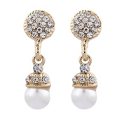 CLIP ON EARRINGS - GOLD PLATED PEARL & CRYSTAL DROP - Bell G by Bello London