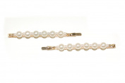 GIZZY® Ladies Pair of Gold Effect Hair Slides with Pearlised Beads