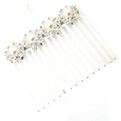Four Flower Pearl, Crystal & Silver Hair Comb