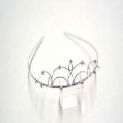 T5473 Shiny Silver Crystal Tiara Brand New