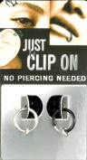 Clip on Fake Piercing Ring 10 mm 1 x Test Black 1xsilber Vaginal Lips Nose Ear 90018