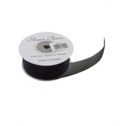 Black 25mm x 22 Metres Organza Ribbon For Favour Boxes & Crafts - Stella Crafts