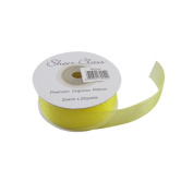 Yellow 25mm x 22 Metres Organza Ribbon For Favour Boxes & Crafts - Stella Crafts
