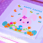 "Easter Cake Topper Easter Bunny 7.5"" (19cm) Square Edible Wafer or Edible Icing (Edible Icing)"