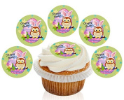 12 Large Pre Cut Cute Green Owl Happy Easter Edible Premium Disc Wafer Cupcake Decorations Toppers - by Kreative Cakes