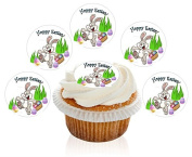 12 Large Pre Cut HOPPY Easter Bunny Edible Premium Disc Wafer Cupcake Decorations Toppers - by Kreative Cakes