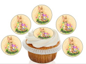 12 Large Pre Cut Retro Cute Easter Bunny / Chick Edible Premium Disc Wafer Cupcake Decorations Toppers - by Kreative Cakes