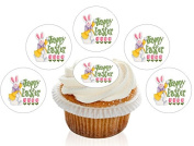 12 Large Pre Cut Happy Easter Bunny Edible Premium Disc Wafer Cupcake Decorations Toppers - by Kreative Cakes