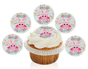 12 Large Pre Cut Cute Pink Owl Happy Easter Edible Premium Disc Wafer Cupcake Decorations Toppers - by Kreative Cakes