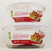 Lock & Lock Ovenglass Set of 2 Round Glass Containers