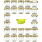 Viva Haushaltswaren G1130125/24T/X Small Jars with Gold-Coloured Lids 125 ml (Pack of 24) and Yellow Locking Funnel