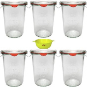 Viva Haushaltswaren #15124 Mason Jars 750 ml (Pack of 6) Clamps, Rings and Yellow Locking Funnel Included