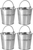4 x Galvanised Metal Serving Buckets / Cutlery Caddies