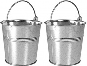 2 x Galvanised Metal Serving Buckets / Cutlery Caddies