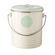 Typhoon Vintage American Compost Caddy/Bin, White with Green lid