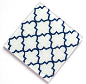 White with Blue Pattern Glass Set of Four Coasters