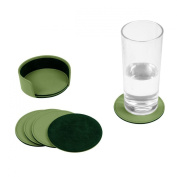Lucrin - Set of 6 coasters - Light Green - Smooth Leather