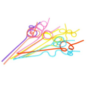 Anself Colourful Straw Crazy Curly Loop Coloured Drinking Straws for Birthday Party