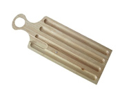 SOLID WOOD OBLONG FRENCH STICK BREAD BOARD WITH CRUMB CATCHER & HANDLE - STYLE 2