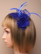 Stunning Royal Blue Fascinator in neat hessian and feather with clip and brooch pin for special occasions