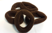 Hair Ponios Donuts Bobbles Large Bands Brown Colour pack of 5