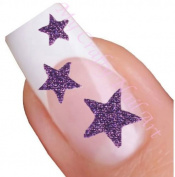 Purple Glitter Star Adhesive Nail Stickers Art