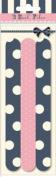 Girls Spots Stripes & Bow 3 x Nail Emery Boards Files Pink & Navy Polka-dot