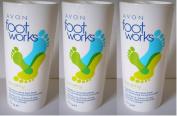 3 x 75g Avon Footworks menthol and tea tree deodorising foot powder