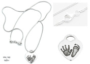 BabyRice Solid Sterling Silver Heart Charm with YOUR CHILD'S Handprint & Footprint Silver Snakechain Necklace