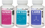 Pure Raspberry Ketones, Carb Blocker METACARB® & Detox Colon Cleanse DX-10® Multi-Saver Trio Pack | 1 Month Supply | Innopure®