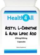 Health4All Acetyl L-Carnitine & Alpha Lipoic Acid 250/200mg 60 Capsules (V)   100% VEGAN   Free UK Delivery   ALCAR ALA capsules