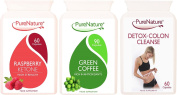 Pure Raspberry Ketones, Pure Green Coffee Bean & Detox Colon Cleanse Multi Pack Suitable for Vegetarians 1 Month Supply PureNature FREE UK Delivery