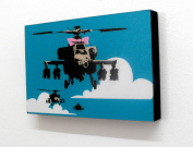 15cm X 10cm (postcard size) Block Mounted Print Banksy Pink Bow Helicopter Graffiti