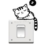 BESTIM INCUK NEW SALE Cat Nap Pet Light Switch Funny Wall Decal Vinyl Stickers Black