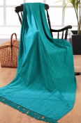 Elite Home Collection 225 x 250 cm 100 Percent Indian Polyester Luxury Plain Chenille Throw for Large 3 Sofa/ Double Bedspreads, Teal