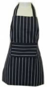 Junior Chef Children Apron White Stripes on Navy with Pocket
